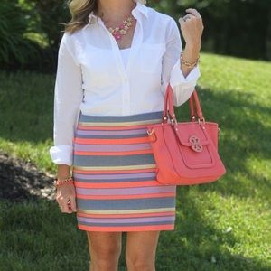 J. Crew Metallic Stripe Skirt